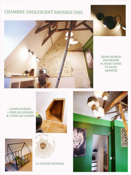 <strong>chambre adolescent sauvage chic</strong> <em>bureau intégré, lumineux, qui se fond dans le décor et met en valeur le mur en pierres</em><br  /></p><p>