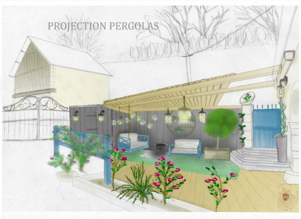 <strong>projection espace pergolas</strong> <em>Les extérieurs sont une extension de la maison. A ne pas négliger.</em><br  /></p><p>