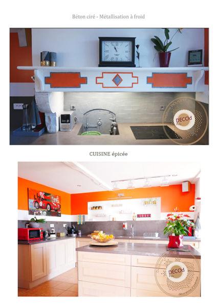 <strong>cuisine fermière épicée</strong> <em>métallisation à froid sur four à pain et parements , plan de travail et crédence en béton ciré gris., couleur orange</em><br  /></p><p>