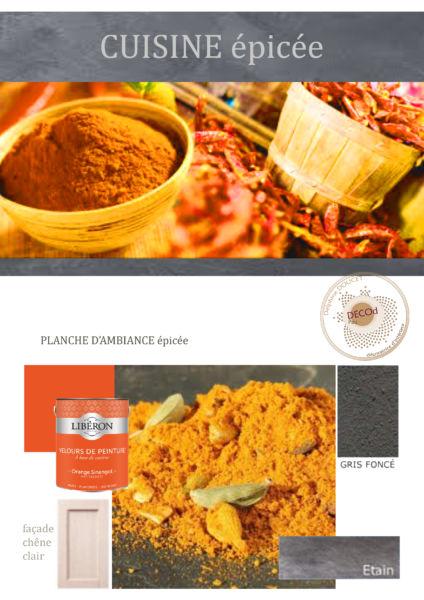 <strong>planche d'ambiance cuisine fermière épicée</strong> <em>thème des épices avec matières (peintures, béton ciré, métallisation à froid) </em><br  /></p><p>
