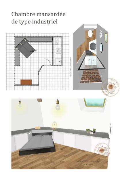 <strong>chambre mansardée industrielle</strong> <em>projections suite industrielle mansardée haut de plafond</em><br  /></p><p>